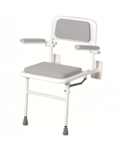 Padded Wall-Mounted Seat with Back and Arms